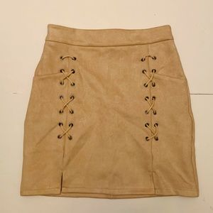Tan Suede lacy mini skirt